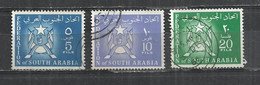 FEDERATION OF SOUTH ARABIA 1965 - COAT OF ARMS - LOT OF 3 DIFFERENT - POSTALLY USED OBLITERE GESTEMPELT USADO - Yemen