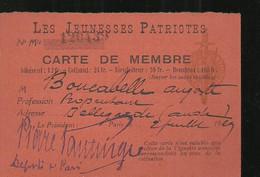 Aude Bellegarde  Les Jeunesses Patriotes  Carte De Membre Signe Par Le Depute De Paris - Documenten