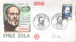 [405075]B/TB//-France 1967 - Émile Zola, Ecrivains, Personnages - FDC