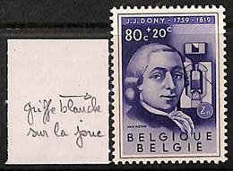 [813562]TB//**/Mnh-BELGIQUE 1955 - N° 974-cv, Inventeur, JJ Dony, Four à Zinc, Griffe Blanche Sur La Joue,Célébrité, Sci - Errors (Catalogue Luppi)