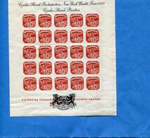 CESKOSLOVENSKO-1939 BLOC N4 Neuf Sans Ch -czeho Slovak Participation New York  Fair 1939 - Gebraucht