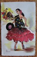 CPSM ROBE BRODÉE Espagne ANDALUCIA 67 - Folklore Costume Toréador Corrida Danse - Borduurwerk