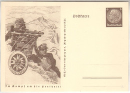 """1941, """" Im Kampf Um Die Freiheit """", Propaganda -Ganzsache, P242 B, Gebirgsjäger - Stamped Stationery"""