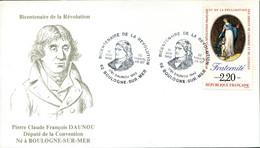 BOULOGNE SUR MER BICENTENAIRE DE LA REVOLUTION 1989 DAUNOU Député De La Convention - Bolli Commemorativi