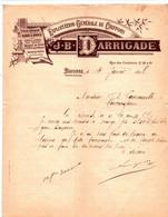 BAYONNE (Basses Pyrénées) - Courrier Illustré  - Exploitation Générale De Chiffons - J.B. DARRIGADE - 1800 – 1899
