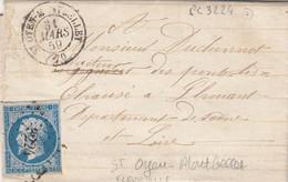 LETTRE. 31 MARS 1859. N° 14. SAONE-ET-LOIRE. ST OYEN-MONTBELLET. PC 3224. DE FLEURVILLE POUR LOUHANS - 1849-1876: Classic Period