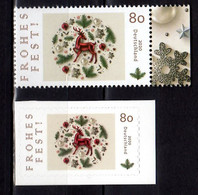 2020 Germany Christmas Tree Decoration S.adhesive  And Paper MNH** MiNr. 3573 + 3575 Glass Deer Snow Flakes Lammetta - Ongebruikt
