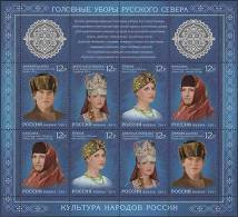 2011-1519-22 M/S Russia Russland Russie Rusia Headdresses Of The North Mankind Clothes Costumes Mi 1751-1754 MNH - Ongebruikt