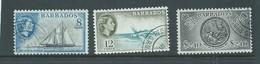 Barbados 1964 New Watermark Definitives 8c Yacht / 12c Fish / $2.40 Seal Of Colony FU - Barbados (...-1966)