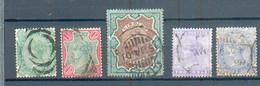 B 191  - INDE  - YT 47-48-50-55-56 °  Obli - 1882-1901 Imperium