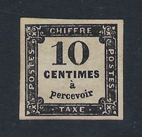 FRANCE 1859 TAXE 10c BLACK  Nº 2 - 1859-1955 Nuevos