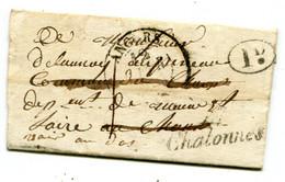 MAINE ET LOIRE De CHAUDEFONDS LAC Du 12/02/1835 Cursive De CHALONNES+ Verso Cursive De ST LAMBERT DU LATTAY - 1801-1848: Precursors XIX
