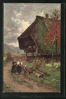 Künstler-AK Wilhelm Hasemann: Gutach, Schwarzwälder Bauernhof Mit Zwei Frauen Und Kind - Altre Illustrazioni