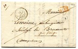 MAINE ET LOIRE De CHALONNES LAC Du 19/01/1848 Avec Cachet P.P. Rouge +dateur T 15+ Verso Taxe De 4 - 1801-1848: Precursors XIX