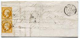 MAINE ET LOIRE De CHALONNES LAC Partielle Du 18/04/1856 Avec N°13 En Paire Oblitérés PC 703 - 1849-1876: Classic Period
