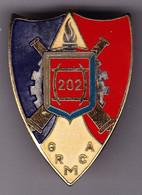 202° GRMCA. 202° Groupement De Réparation Du Matériel De Corps D'Armée. émail Grand Feu. D.2628. - Hueste