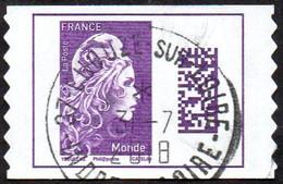 Oblitération Cachet à Date Sur Autoadhésif De France N° 1604 - Marianne L'Engagé. Datamatrix Monde PRO - Sellos Autoadhesivos