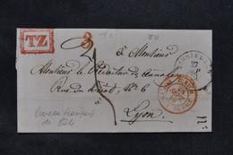 """SUISSE - Lettre De Einsiedeln Pour La France En 1849 Avec Cachet Rouge """" Zurich Bureau Fr. 1 De Bâle """" - L 76170 - Storia Postale"""