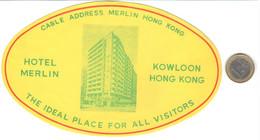 ETIQUETA DE HOTEL  - HOTEL MERLIN  -HONG KONG  -CHINA - Hotel Labels