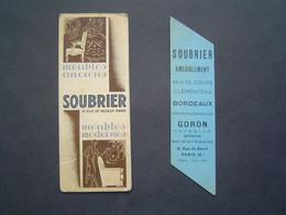 2 X MARQUE PAGE Ancien : MEUBLES SOUBRIER - PARIS / LIBRAIRIE FERET - BORDEAUX - Bladwijzers