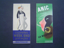 2 X MARQUE PAGE Ancien : CIGARETTES WEEK END - ANIC - CASQUE D' OR / LOTERIE / RENE VINCENT / POULBOT / FABIANO / SEPO - Bladwijzers