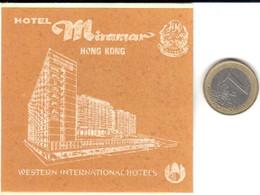 ETIQUETA DE HOTEL  -HOTEL MIRAMAR  -HONG KONG  -CHINA - Hotel Labels