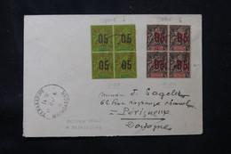 MADAGASCAR - Affranchissement Groupe De Anjouan En Bloc De 4 Avec Surcharges Espacés Sur Enveloppe En 1914 - L 76188 - Brieven En Documenten