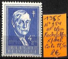 [835077]TB//*/Mh-c:13e-Belgique 1955 - N° 984, 4f Bleu, Rockefeller, SNC - Neufs
