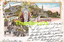 CPA 65 LITHO SALUT DE LOURDES - Lourdes