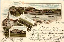 Gruss Aus Pirna - Litho - Pirna