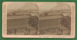 CHINE CHINA - Regardant Nord South Gate Ville En Feu Tientsin PHOTOS STEREO SUR CARTON 1901 UNDERWOOD - China