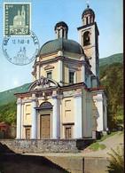 60157 Switzerland, Maximum 1968,  Riva San Vitale  Chiesa Santa Croce,  Cathedral Architecture - Maximum Cards