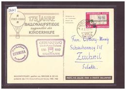 FORMAT 10x15cm - 175 JAHRE BALLON AUFSTIEGE 1785-1960 - GEDENKFLUG SOLOTHURN - BORDSTEMPEL FREIBALLON BERNINA  - TB - Otros
