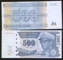 Zaire 500 Nouveaux Zaire 1995 Pick 65 UNC Low Number 0000611 - Zaïre