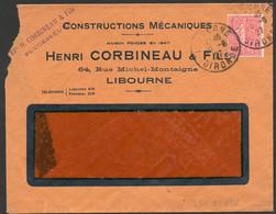 N° 199 (IIA), 5c Au Lieu De 50c, 0 De 50 Obstrué , Obl Cad Libourne 30/6/27, Au Tarif Sur Lettre  - TB - Variétés: 1921-30 Lettres & Documents