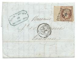 BORD DE FEUILLE N° 16 NAPOLEON SUR LETTRE / MONTPELLIER POUR TOULOUSE / 8 JANV 1857 / LAC - 1849-1876: Période Classique
