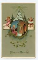 Religion. Bonne Année . Trois Anges. église En  Médaillon. Sapin De Noël. Petit Ange Jouant Du Violon - Angeli