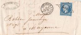 BORDEAUX à PARIS 1° A -  1859  -  Napoleon 20 C  ( + Verso PARIS à BREST ) Pour MAYENNE - 1849-1876: Periodo Clásico