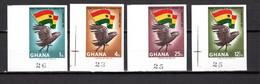 GHANA  N° 262 à 265 NON DENTELES  NEUFS SANS CHARNIERE COTE ? €  OISEAUX ANIMAUX  DRAPEAU REVOLUTION - Ghana (1957-...)