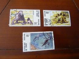 LOT 3 TIMBRES  REPUBLIQUE POPULAIRE DU CONGO - PREHISTOIRE / DINOSAURE  OBLITERES 1975 - Preistorici