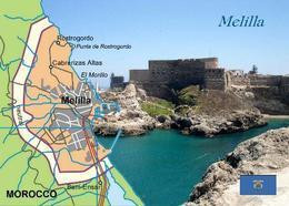 Melilla City Map Spain New Postcard - Melilla