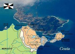 Ceuta City Map Spain North Africa New Postcard Landkarte AK - Ceuta