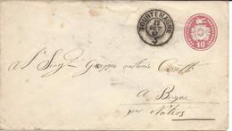 TOURTEMAGNE 17oct 1867, Sur Tüblibrief Lettre Entier Postal Pour BRIGUE. VALAIS WALLIS. Heimat, - Ganzsachen
