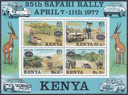 Kenia Kenya 1977 Sport Motorsport Safari-Ralley Automobile Autos Cars Ford Lancia Peugeot Toyota Elefanten, Bl. 6 ** - Kenia (1963-...)