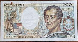 Billet 200 Francs Montesquieu 1985 FRANCE  A.036 - 200 F 1981-1994 ''Montesquieu''