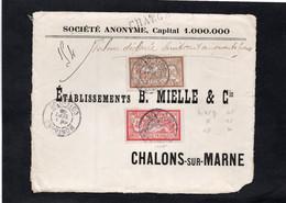 Devant D'enveloppe Pour CHALONS Sur MARNE (CHARGE) - Cachets MONTBARD (Cote D'Or) Sur Type Merson YT 119 & YT 120 - 1877-1920: Semi-Moderne