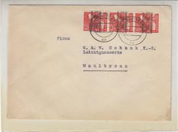 Brief Mit 38I (3) Aus (14a) STUTTGART 27.7.48 Nach Maulbronn - American/British Zone