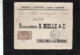 Devant D'enveloppe Pour CHALONS Sur MARNE (CHARGE) - Cachets THIAUCOURT (Meurthe Et Moselle) Sur Type Merson YT 120 - 1877-1920: Semi-Moderne