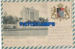 146645 GERMANY GRUSS AUS REGENSBURG CASTLE VILLA & HERALDRY CIRCULATED TO BELGIUM POSTAL POSTCARD - Zonder Classificatie