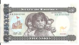 ERYTHREE 5 NAKFA 1997 XF+ P 2 - Eritrea